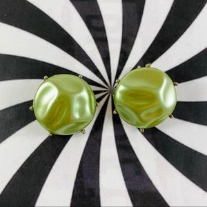 Vintage pearlized button clip earrings silver tone